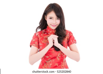 Asian woman in chinese dress traditional cheongsam with gesture of congratulation isolated on white background