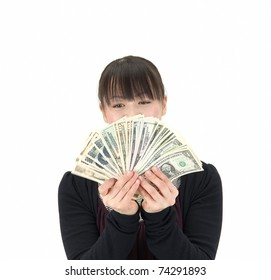Asian woman counting Japanese Yen and US dollars