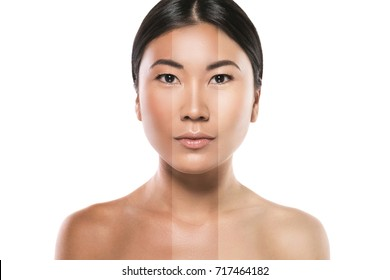 Asian woman with difference in skin brightness. Concept of facial whitening or sun protection.