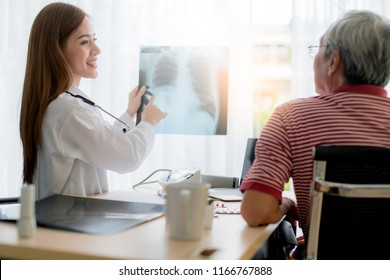 asian woman doctor consult and examine x-ray result with senior patient with care and focus