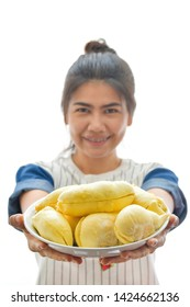 Asian woman with durian on white background.