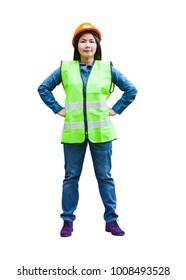 asian woman engineer supervisor wear reflection vest wearing orange hardhat with isolated white background