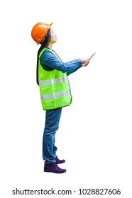 Asian woman engineer supervisor wear reflection vest wearing orange hardhat hold computer tablet with isolated white background