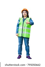 asian woman engineer supervisor wear reflection vest thumb up with isolated background