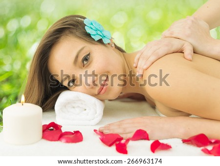 Asian Woman Enjoying A Massage In The Spa Concept About Massages Wellness Body