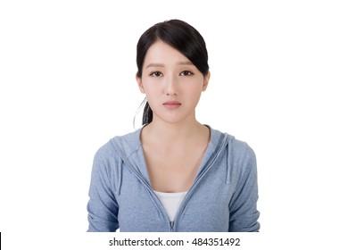asian woman face with sadness, closeup portrait