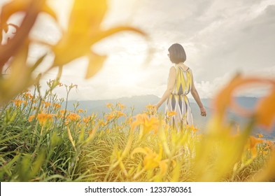 asian woman feel free and stand in the yellow tiger lily farm