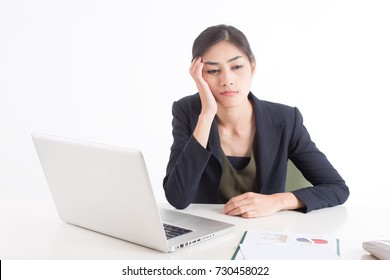 Asian Woman feeling bored when work at office, Woman working concept, Woman bored with her Job, Isolated on white background.