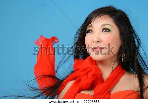 asian woman with flowing hair