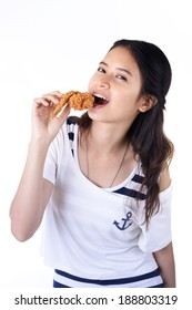 Asian woman with fried chicken over white background