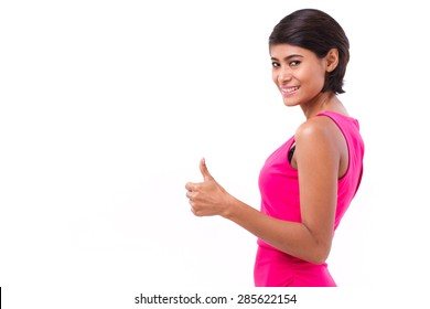 asian woman giving thumb up gesture, isolated on white background