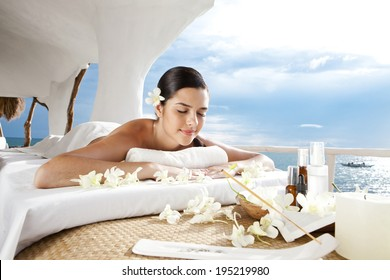 Asian woman having a massage treatment