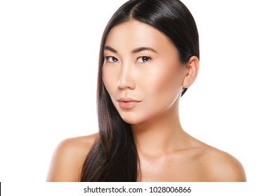 Asian woman with a healthy black hair on white background