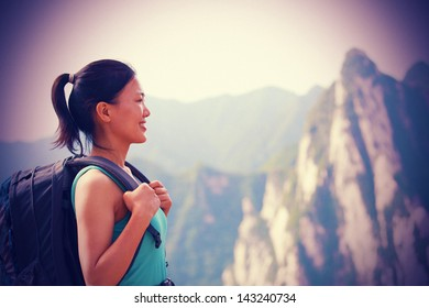 asian woman hiker at mount hua