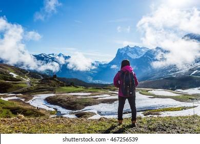 Asian woman hiking at Switzerland