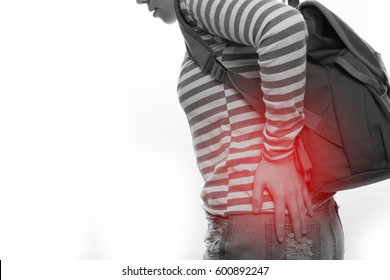 asian woman hip pain on isolated white background.