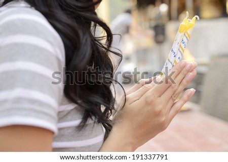 Asian Woman Holding Candles Incense Sticks Stock Photo (Edit Now