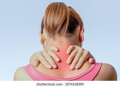 asian woman holding hand and touching skin around cervical spine on  clear background