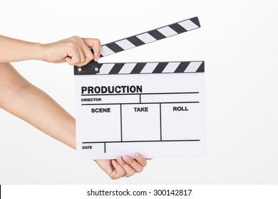 Asian woman holding movie production clapper board on white background