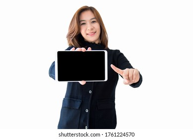 Asian woman holding tablet computer focus on hand isolated on whtie.