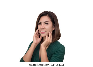 Asian woman isolated on white background. Casual mixed-race Asian Caucasian woman smiling looking happy in green t-shirt.
