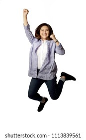 The Asian woman jumping on the white background.