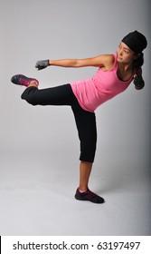 Asian Woman Kick Boxing workout