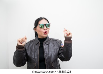 asian woman with leather jacket fashion