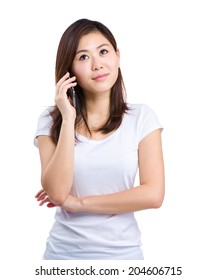 Asian woman listen to mobile phone