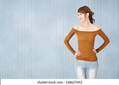 Asian woman look at left with copyspace, closeup portrait.