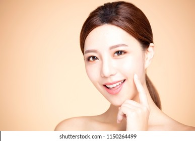 asian woman with natural makeup and clean skin