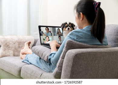 Asian woman on sofa and team on laptop screen talking and discussion in video conference and dog interruption.Working from home, Working remotely, Pets interruption and Self-isolation.