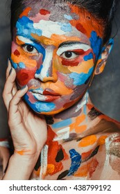 asian woman with painted face