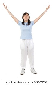 An Asian woman peforming some gentle exercises in the studio on white background
