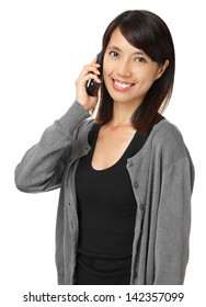 Asian woman with phone call isolated on white background
