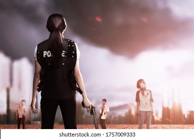 Asian woman in police vest with a gun on her hand ready to attack zombies on the city
