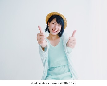 Asian woman pose positive happy smiling concept in white background