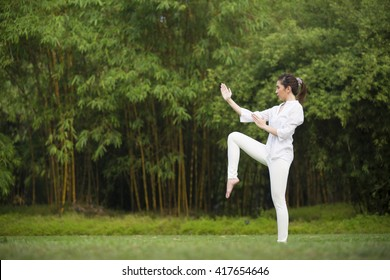 Asian woman practicing Tai Chi in a garden. healthy lifestyle and relaxation