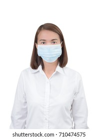 Asian woman with protective masks isolated on white background with clipping path