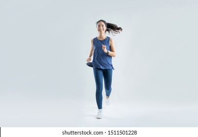 Asian woman run marathon studio white background.