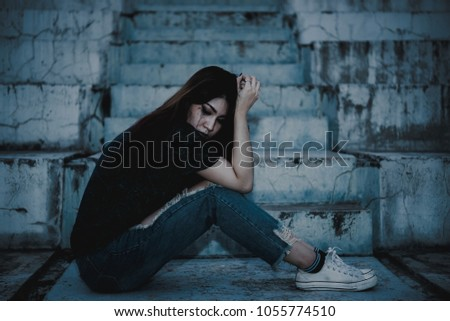 Asian Woman Sad Love She Worry Because Stock Photo Edit Now
