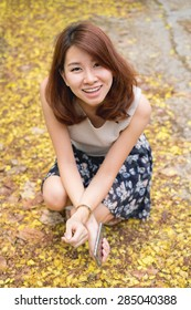 Asian woman smile, happy and relax.