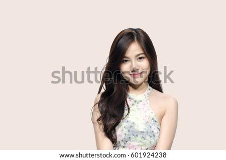 Foto Stock De Asian Woman Smiling Dimple Long Hair Editar Agora