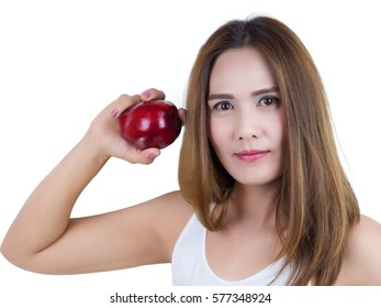 Asian Woman smiling And holding Apple, isolated on white background. Healthy Food concept.