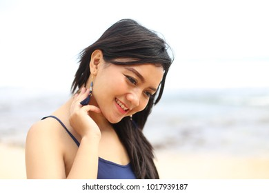 asian woman smiling white background. Close up of young Asian beautiful woman with smiley face.