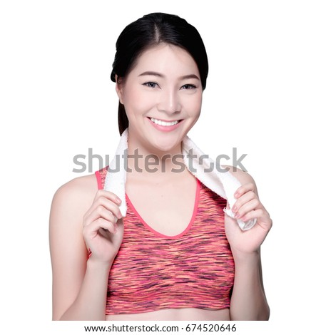 2df4994cd4 Asian Woman Sport Workout and Exercise Concept. Slim body girl relax and  wipe sweat after workout. Beauty face and natural makeup sports bra outfit.