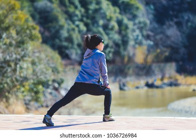 asian woman with sporty casual clothing