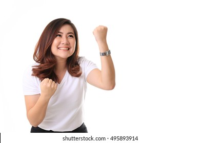 The Asian woman standing on the white background.