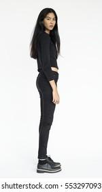 Asian Woman Standing Studio Portrait Concept