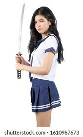 asian woman in student cosplay holding samurai and white background